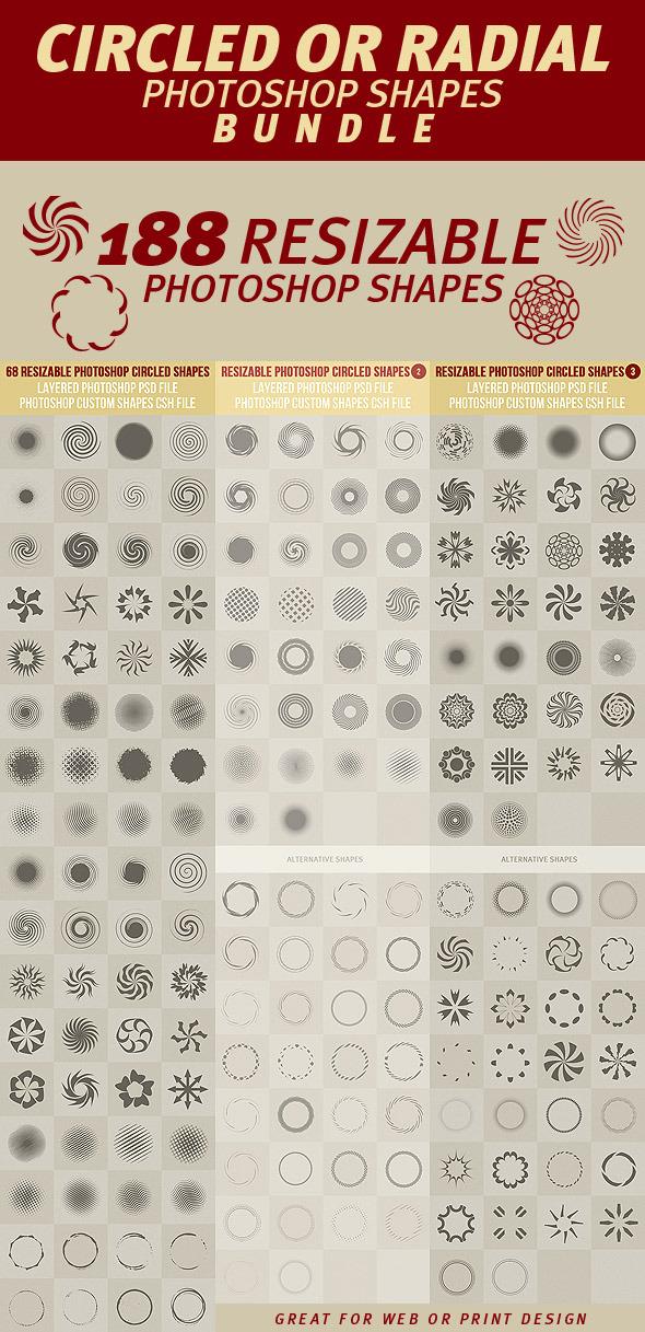 Circled or Radial Photoshop Shapes Bundle - Symbols Shapes