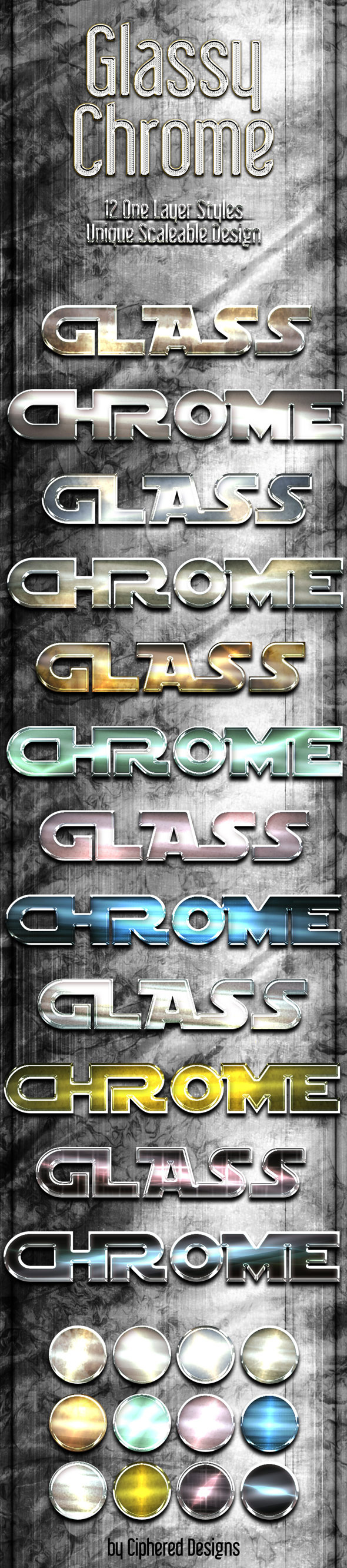 Glassy Chrome Styles - Text Effects Styles