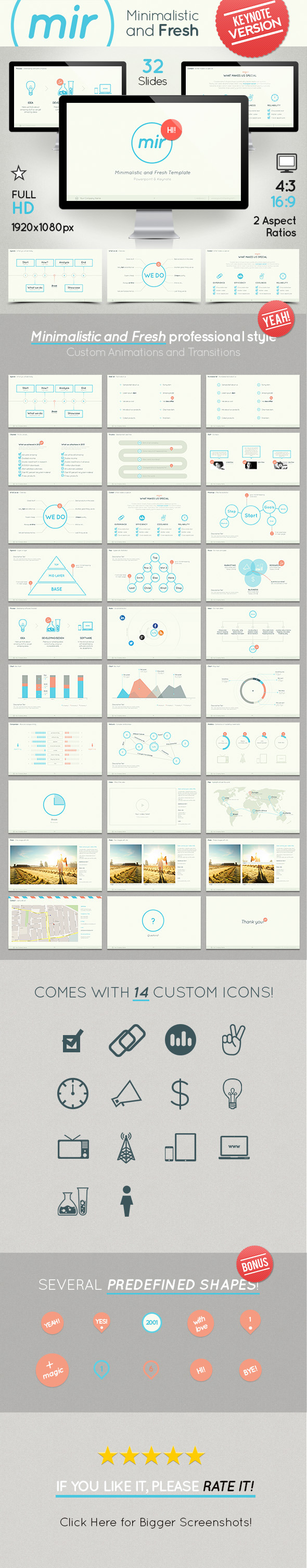 Mir- Minimalistic and Fresh Keynote Template - Keynote Templates Presentation Templates