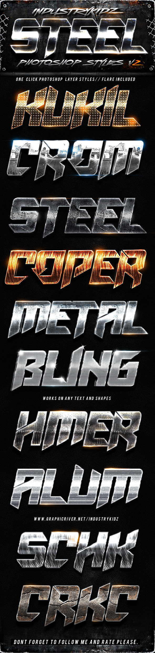 Metal Steel Photoshop Layers Styles V2 - Text Effects Styles