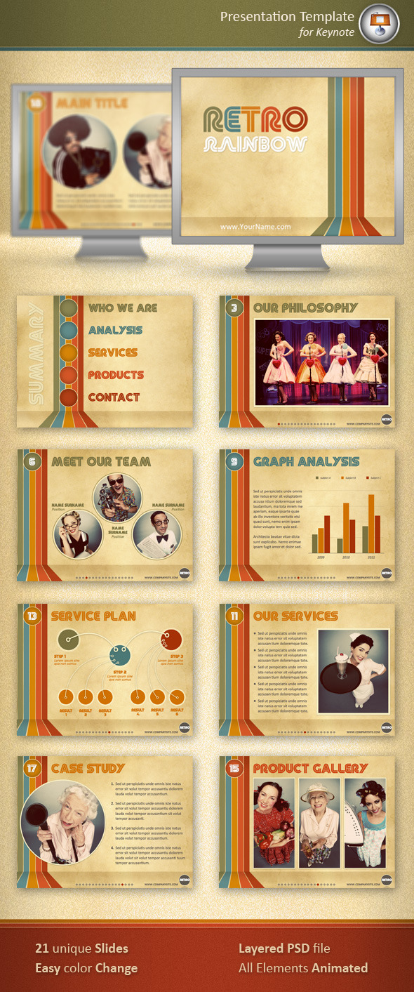 Retro Rainbow Keynote Template - Keynote Templates Presentation Templates