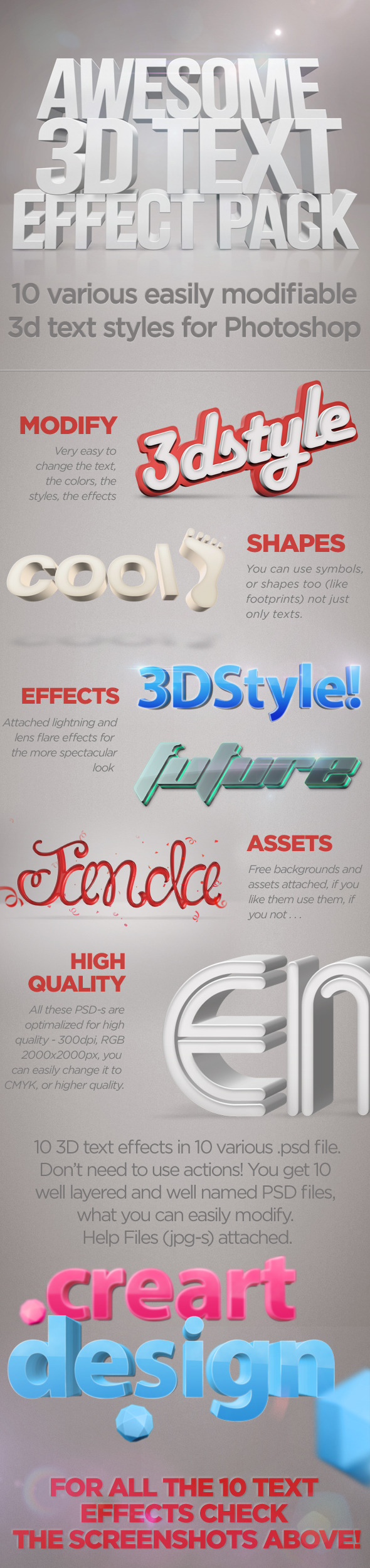 3D Text Effects for Photoshop - Text Effects Actions