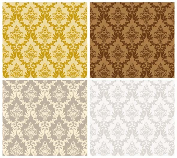 Damask Seamless Pattern Set - Textures / Fills / Patterns Illustrator