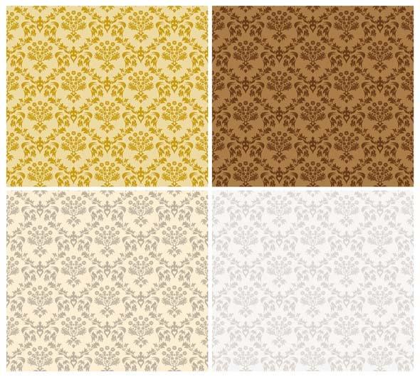 Damask Seamless Pattern Set - Textures / Fills / Patterns Illustrator