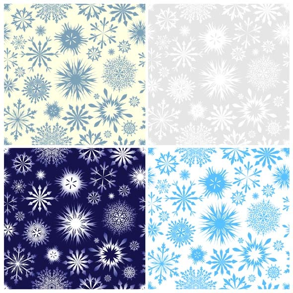 Snowflake Seamless Pattern Set - Textures / Fills / Patterns Illustrator