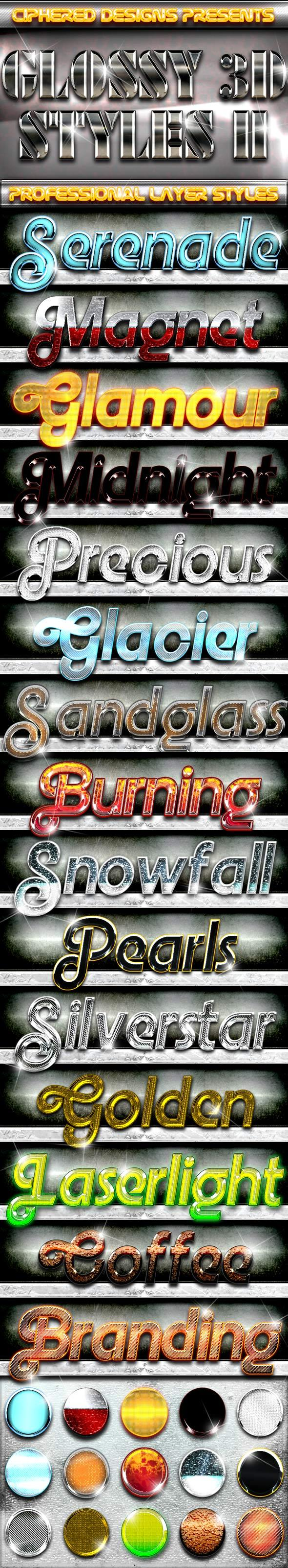 Glossy 3D Styles II - Professional Layer Styles - Text Effects Styles