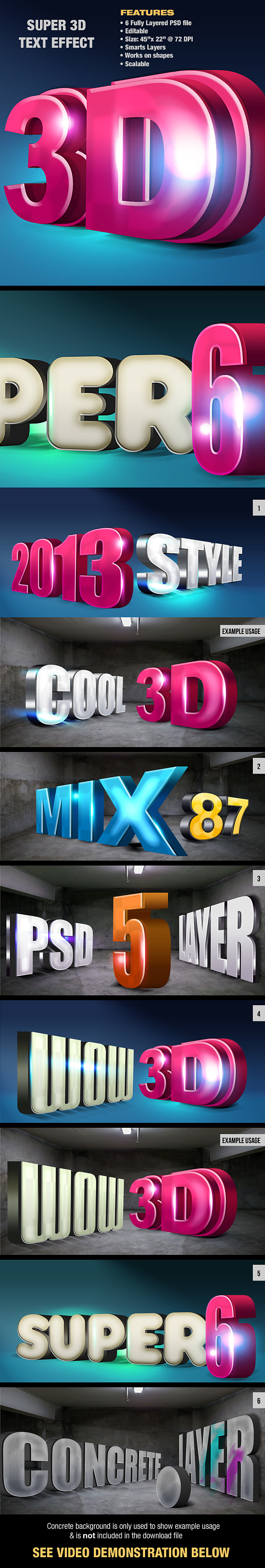 Super 3D Text Effect - Actions Photoshop