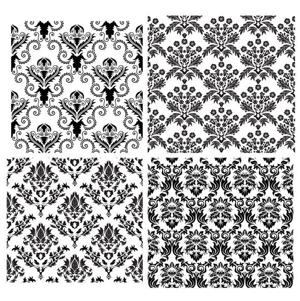Damask Pattern Set - Textures / Fills / Patterns Illustrator
