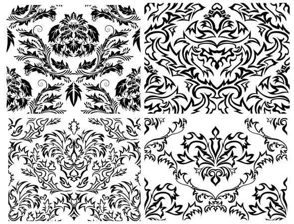 Damask Pattern Set - Textures / Fills / Patterns Illustrator