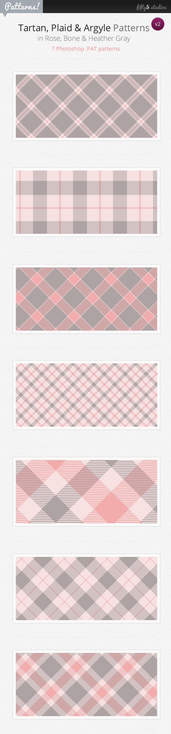 7 Tartan, Plaid & Argyle Patterns - v2 - Photoshop Add-ons