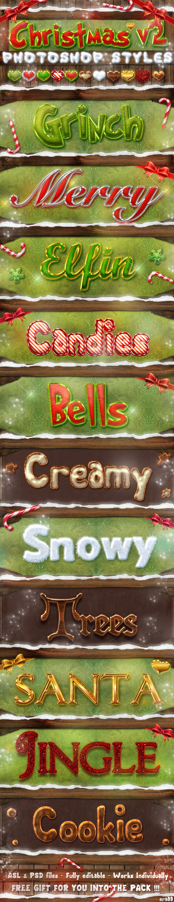 Christmas Photoshop Styles V2 - Styles Photoshop