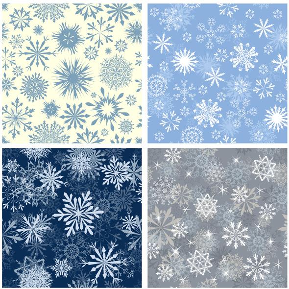 Snowflake Seamless Pattern Set - Textures / Fills / Patterns Illustrator