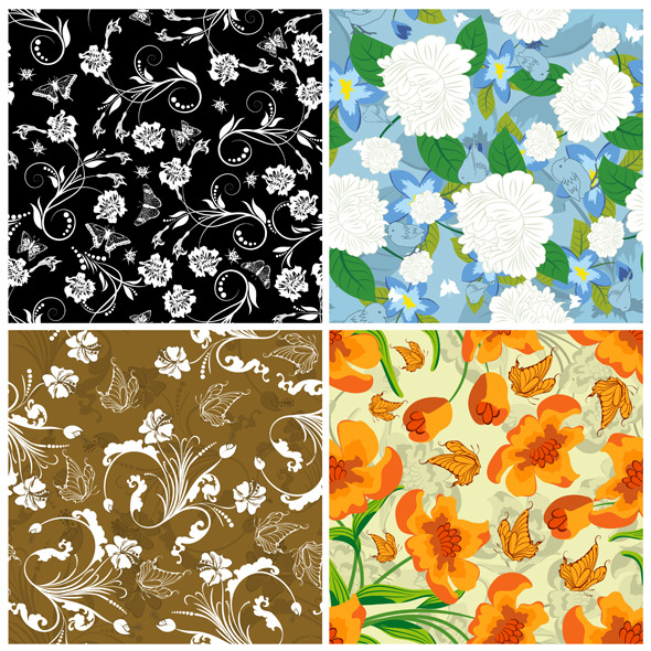 Floral Seamless Pattern Set - Textures / Fills / Patterns Illustrator