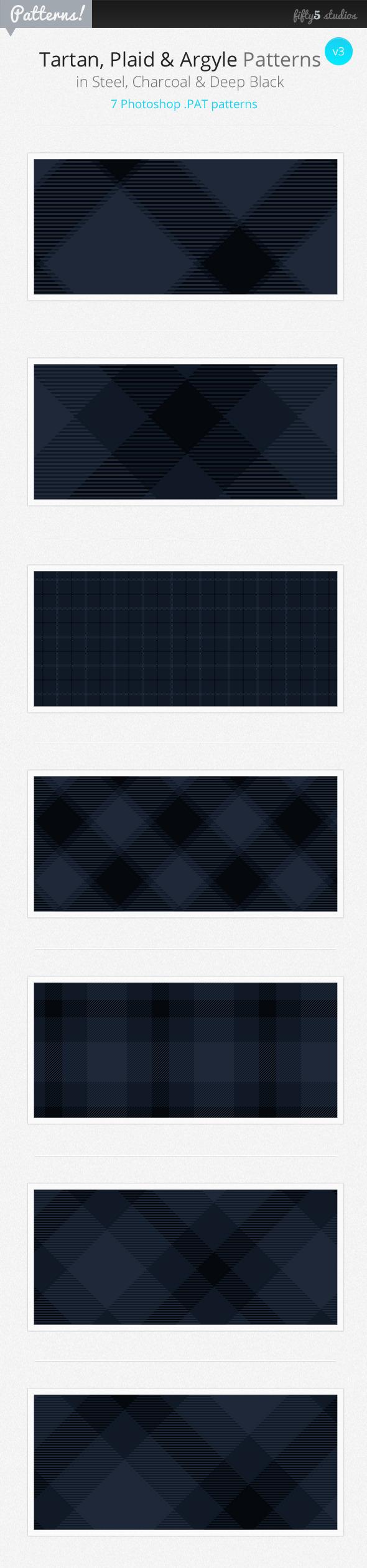 7 Tartan, Plaid & Arglye Patterns v3 - Miscellaneous Textures / Fills / Patterns