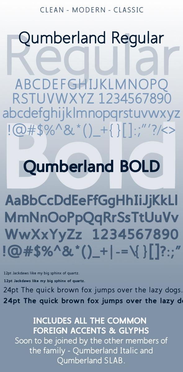Qumberland Regular & Bold Modern Clean Font - Sans-Serif Fonts