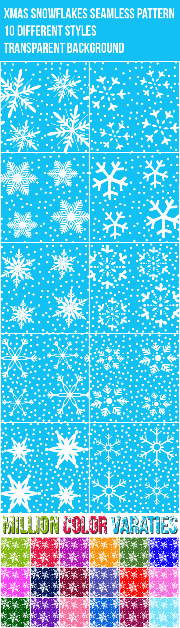 Xmas Snowflakes Seamless Pattern - Nature Textures / Fills / Patterns