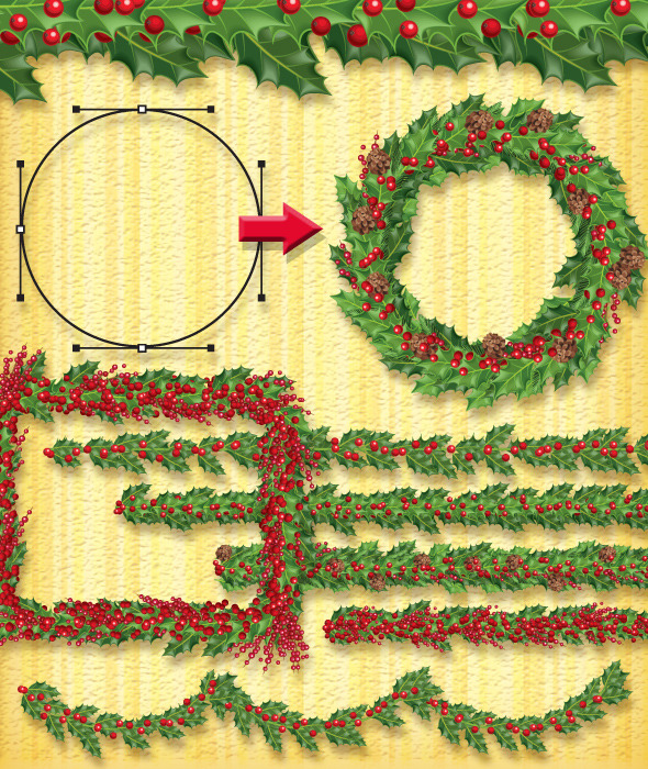 Christmas Holly Brush - Brushes Illustrator