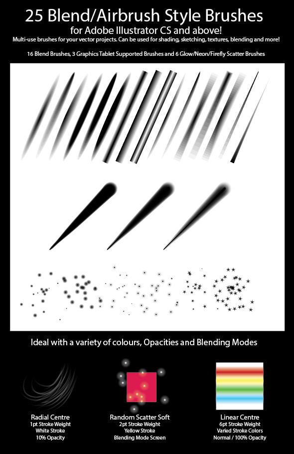 25 Blend Airbrush Style Brushes for Illustrator - Miscellaneous Brushes