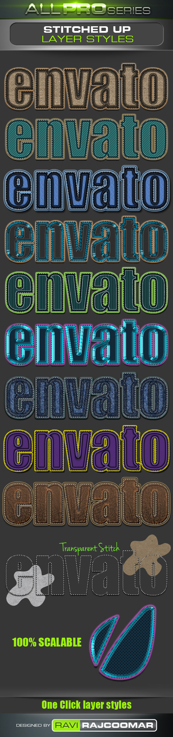 Stitched UP Layer Styles - Text Effects Styles