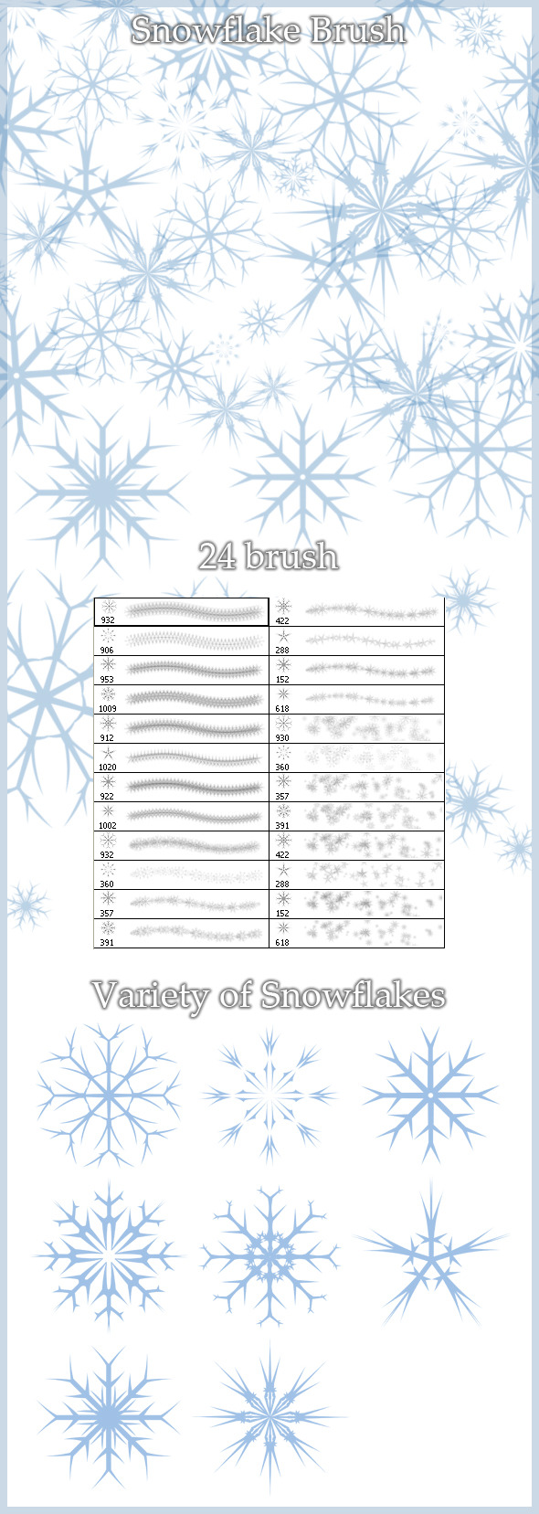 24 Snowflakes Brush - Flourishes Brushes