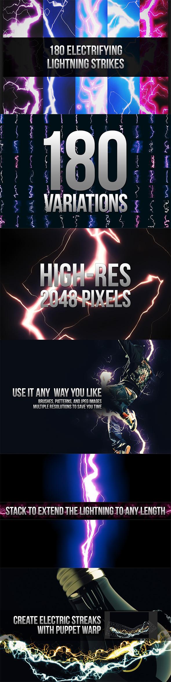 180 Seamless Lightning Strikes - Techno / Futuristic Textures / Fills / Patterns
