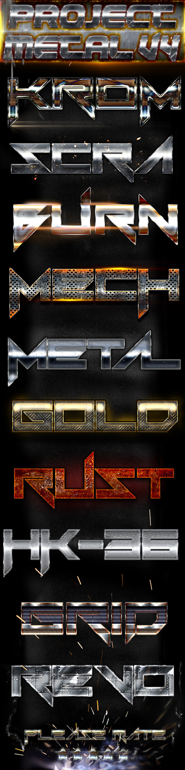 Project Metal V4 - Photoshop Text Styles - Text Effects Styles