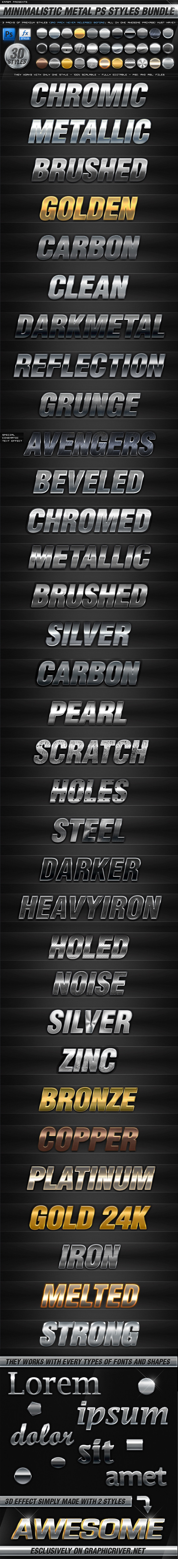 BUNDLE - 30 Minimalistic Metal PS Styles - Text Effects Styles