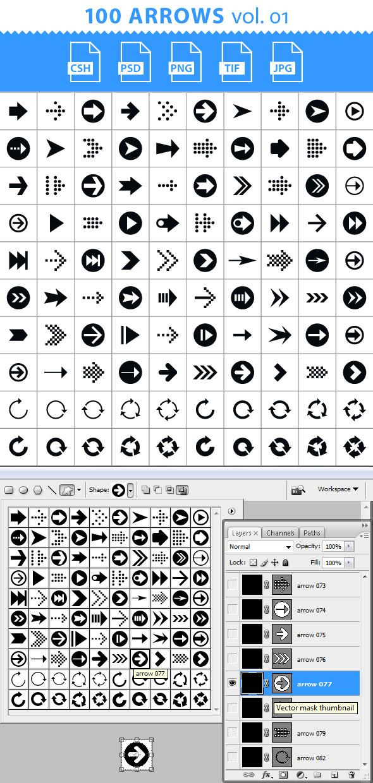 100 Arrows Set. Volume 01 - Symbols Shapes