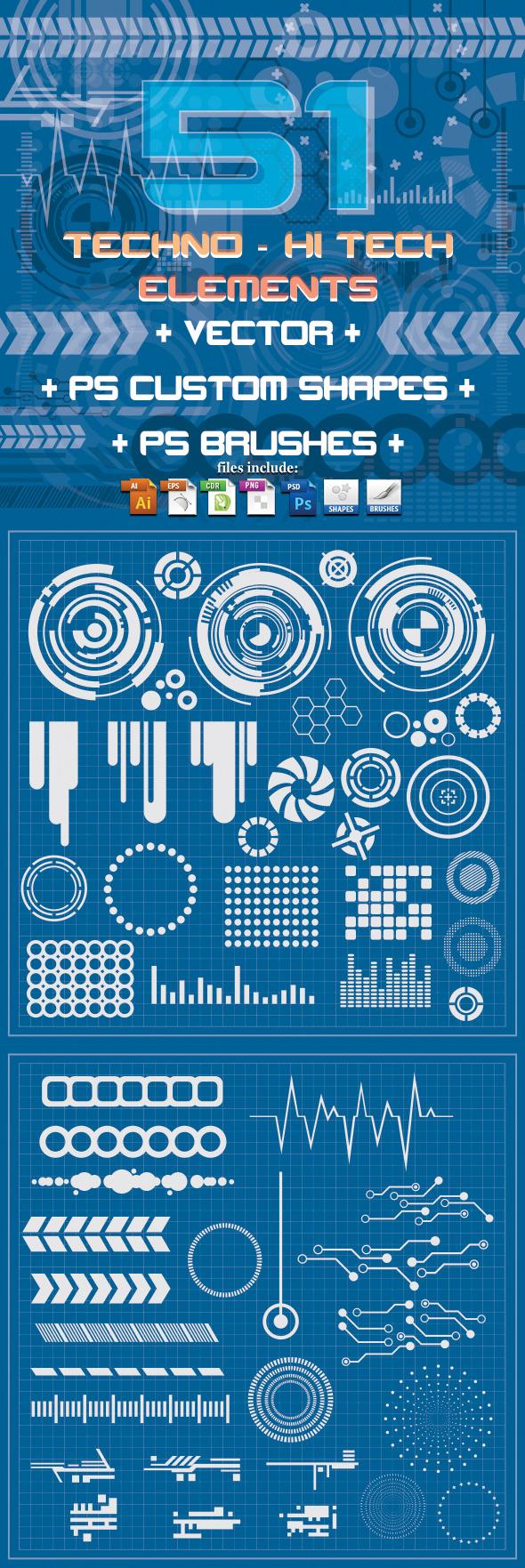51 Techno & Hi Tech Elements - Symbols Shapes