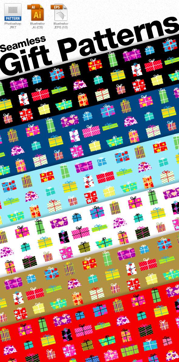 Seamless Gift Patterns - Textures / Fills / Patterns Illustrator