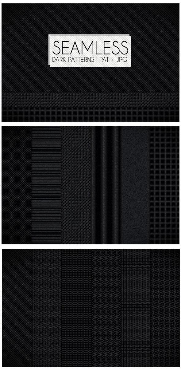 12 Seamless Dark Patterns - Textures / Fills / Patterns Photoshop