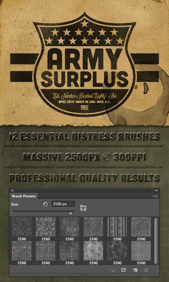 12 Photoshop Lite Distress Texture Brushes - Grunge Brushes