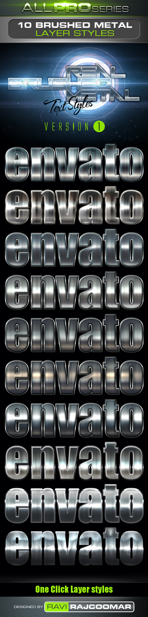 Real Brushed Metal Text Styles Vol.1 - Styles Photoshop