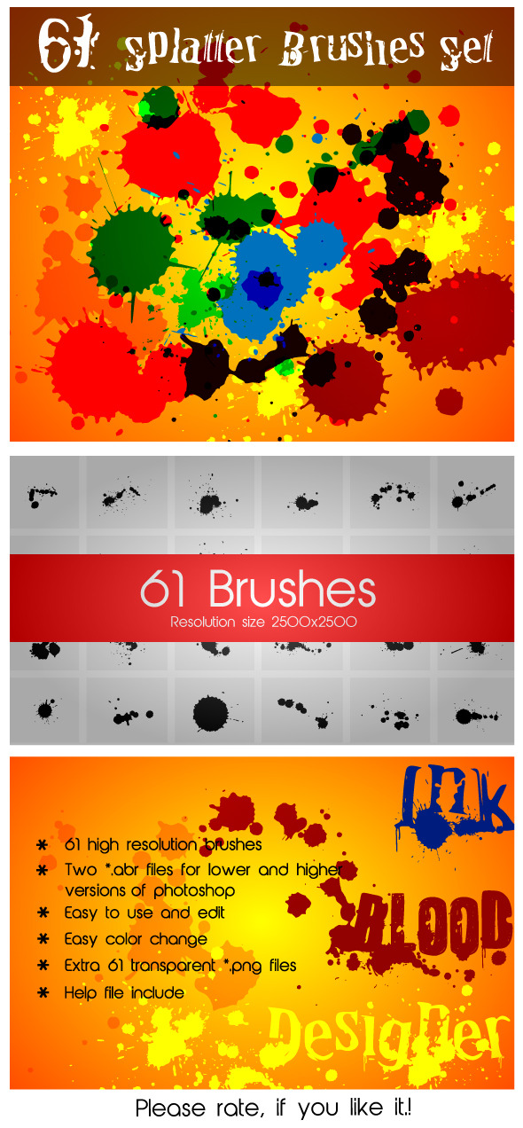 61 Splatter Brushes Set - Grunge Brushes