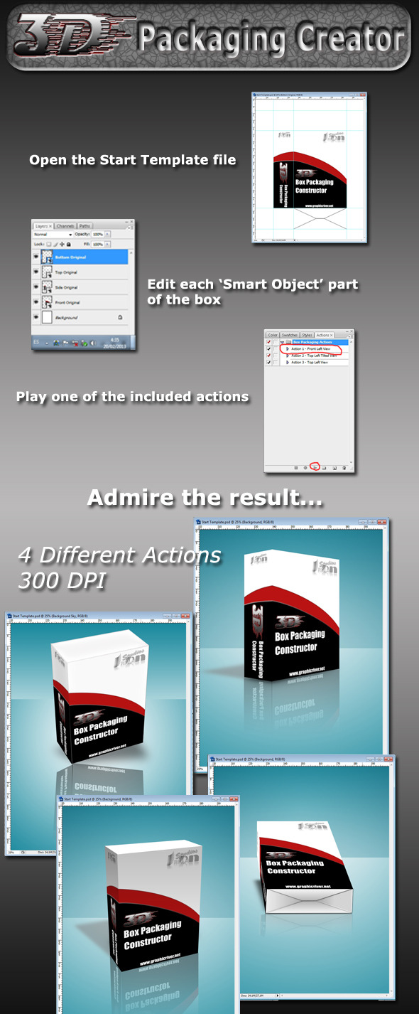 3D Box Packaging Constructor - Actions Photoshop