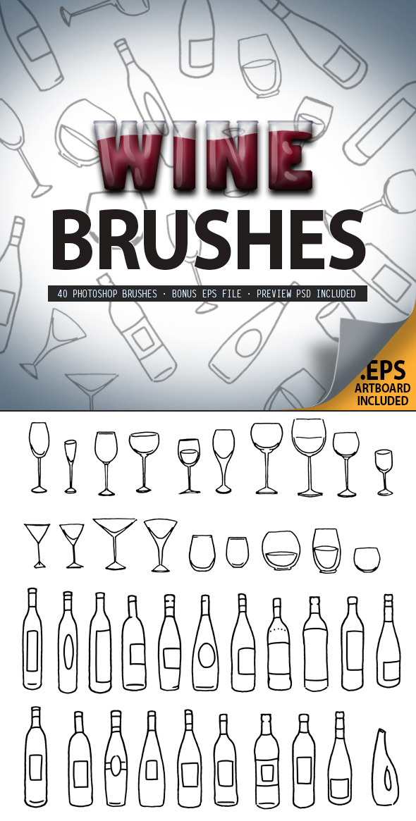 Wine Glass & Bottle Brush Set - Brushes Photoshop