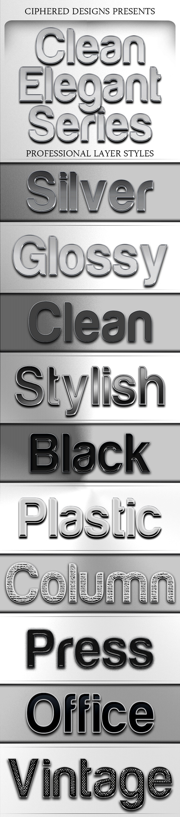 Clean Elegant Series - Professional Layer Styles - Text Effects Styles