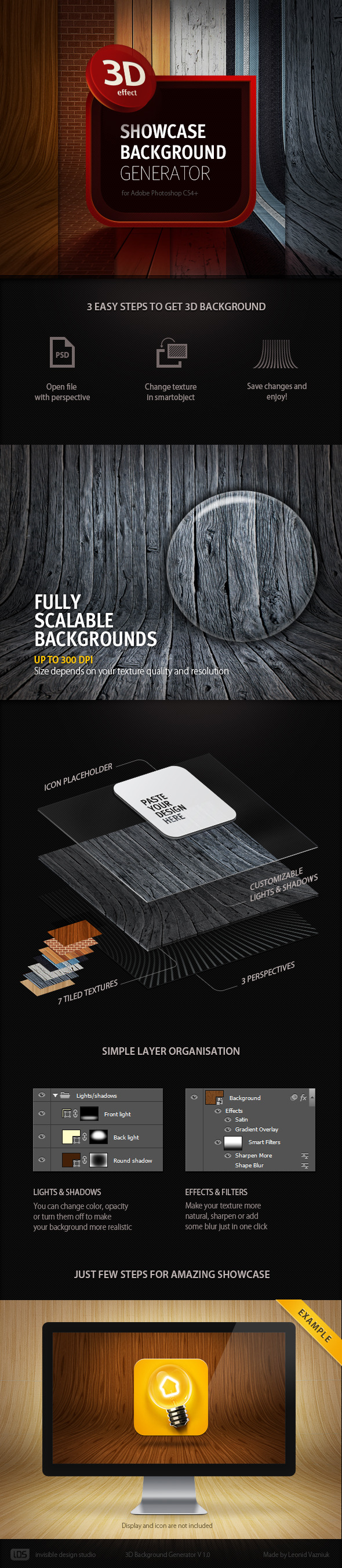 3D Showcase Background Generator - Photoshop Add-ons