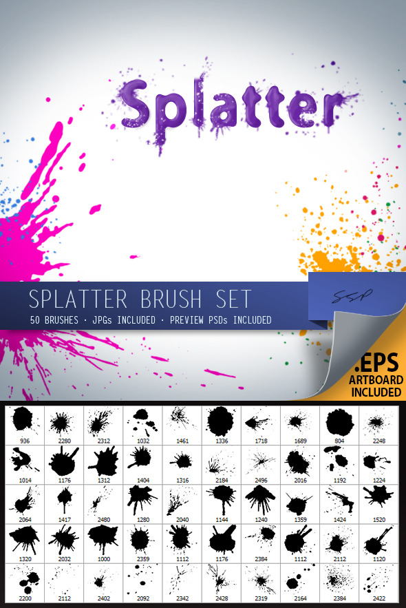 50 Splatter Brushes - Brushes Photoshop