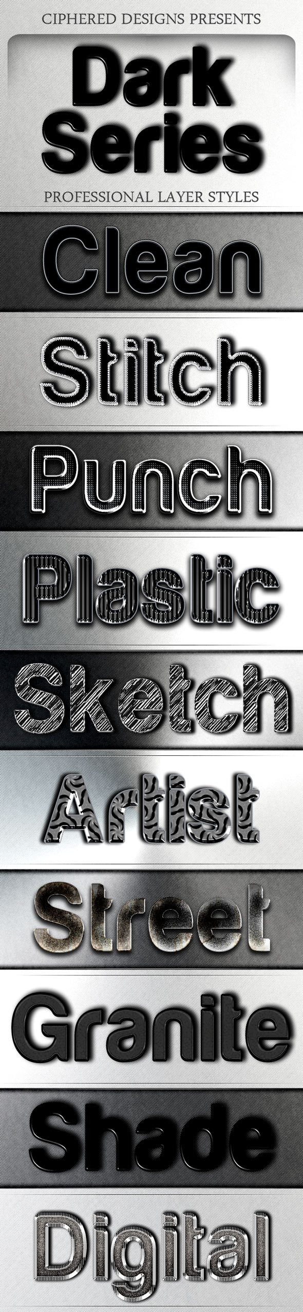 Dark Series - Professional Layer Styles - Text Effects Styles