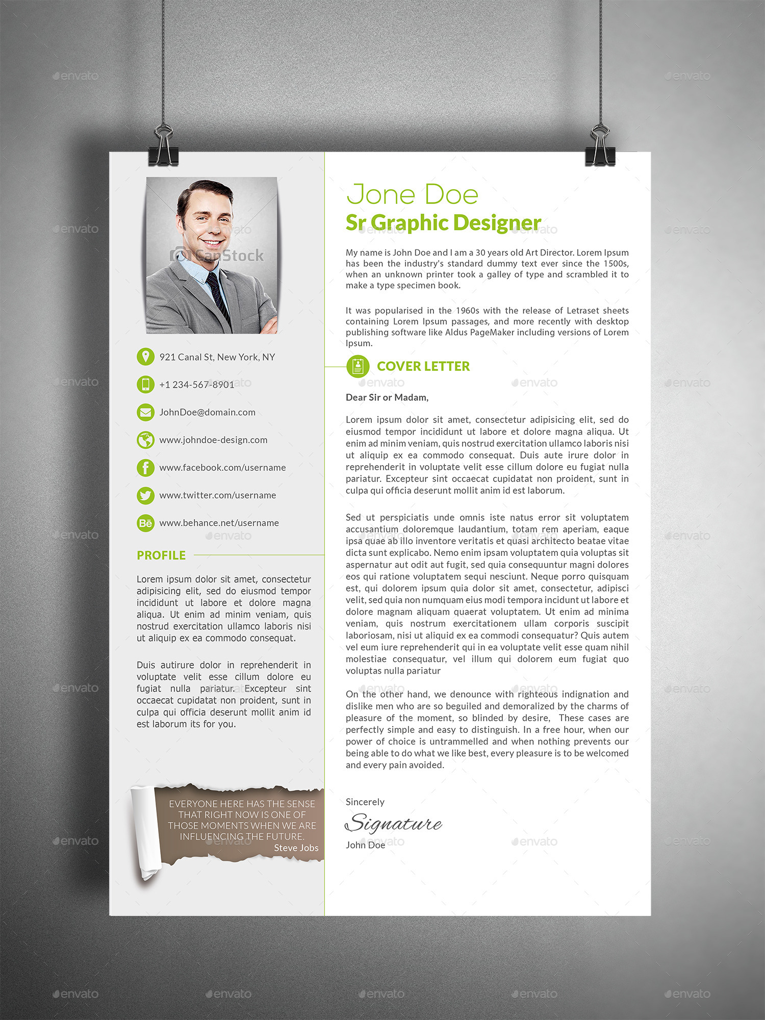 3 Piece Professional Resume CV By Creativework07