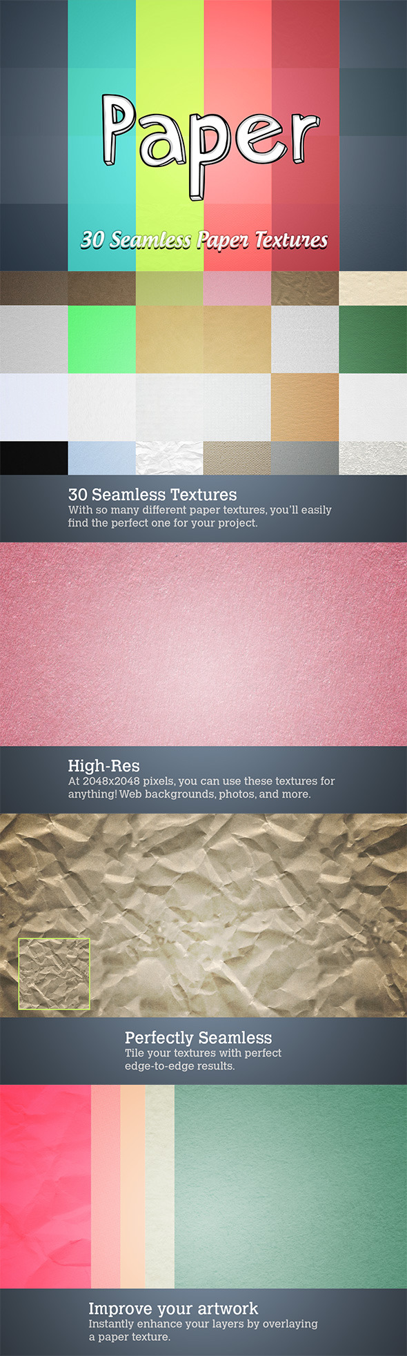 30 Seamless Paper Textures - Artistic Textures / Fills / Patterns