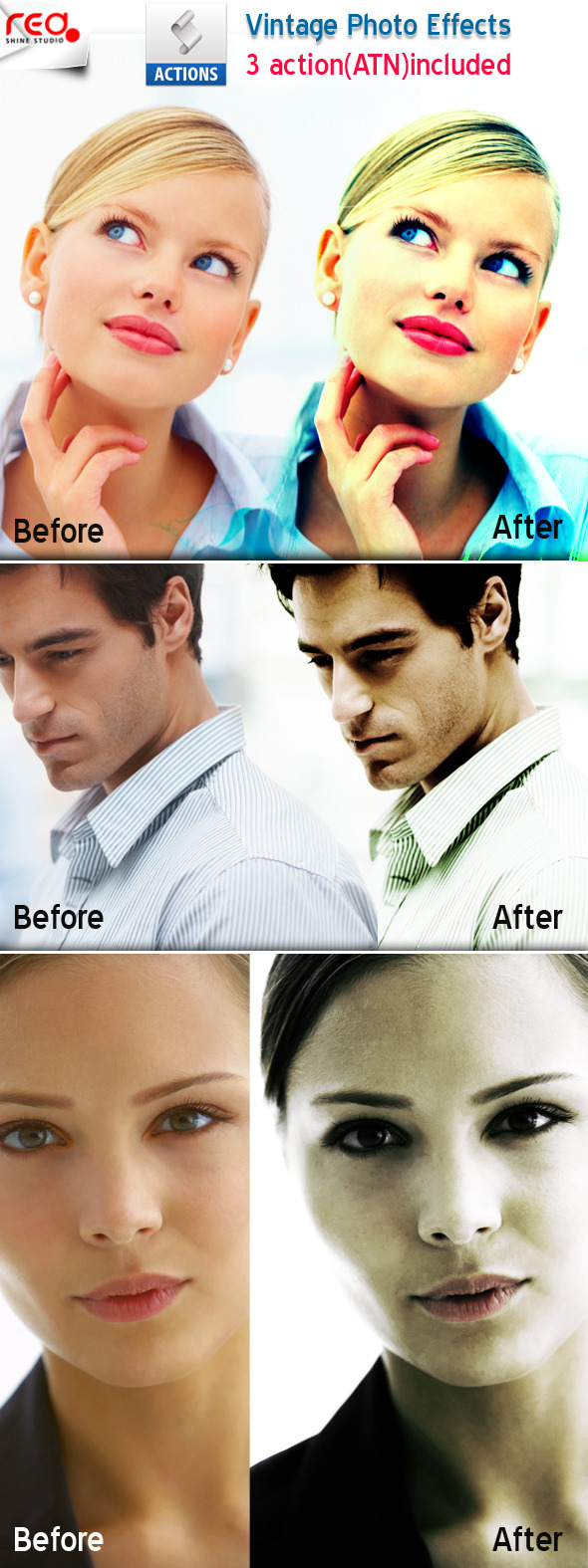 3 Photoshop Special Effects - Photo Effects Actions