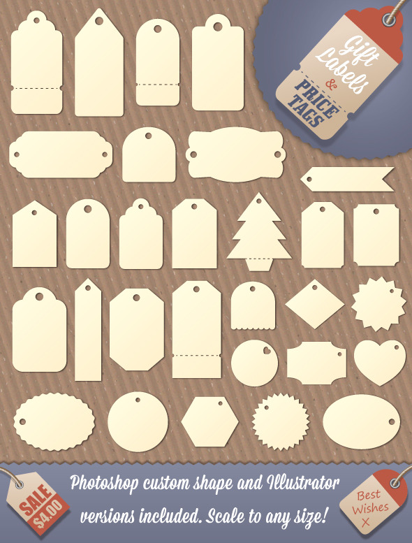 Gift Tag and Price Label Shapes - Shapes Photoshop