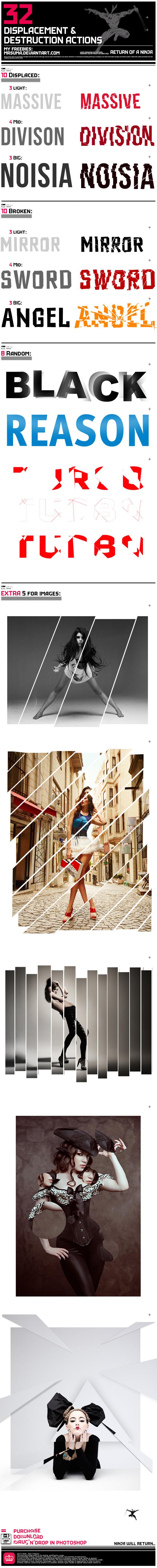 32 Displace & Distort Effect - Actions Photoshop