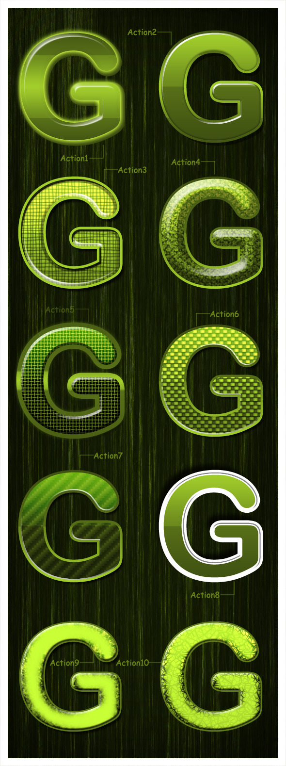 Glossy Green - Text Effects Actions