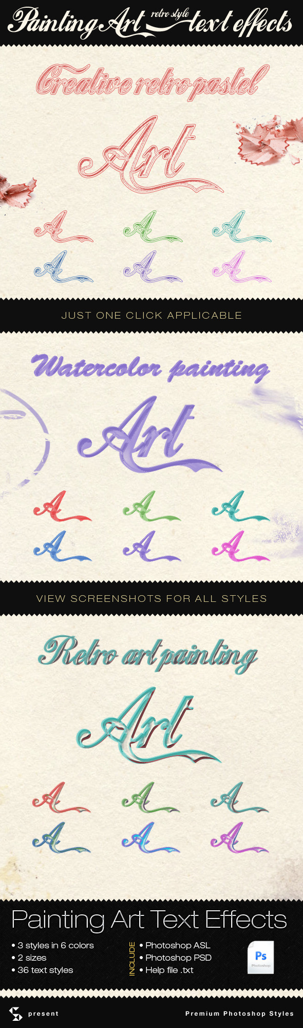 Painting and Retro Art Text Effects - Text Effects Styles