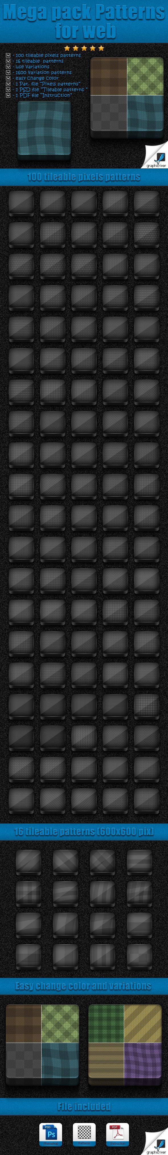 Mega Pack Patterns for Web - Textures / Fills / Patterns Photoshop