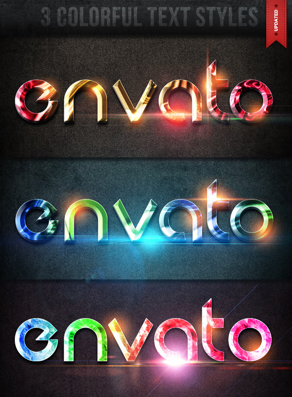 3 Colorful Text Styles - Text Effects Actions