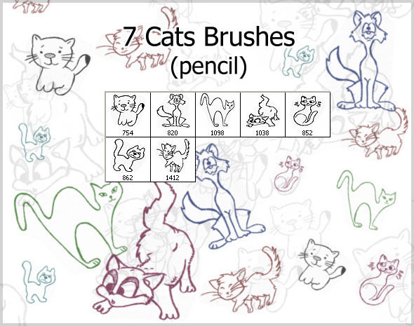 7 Cats Brushes (pencil) - Brushes Photoshop